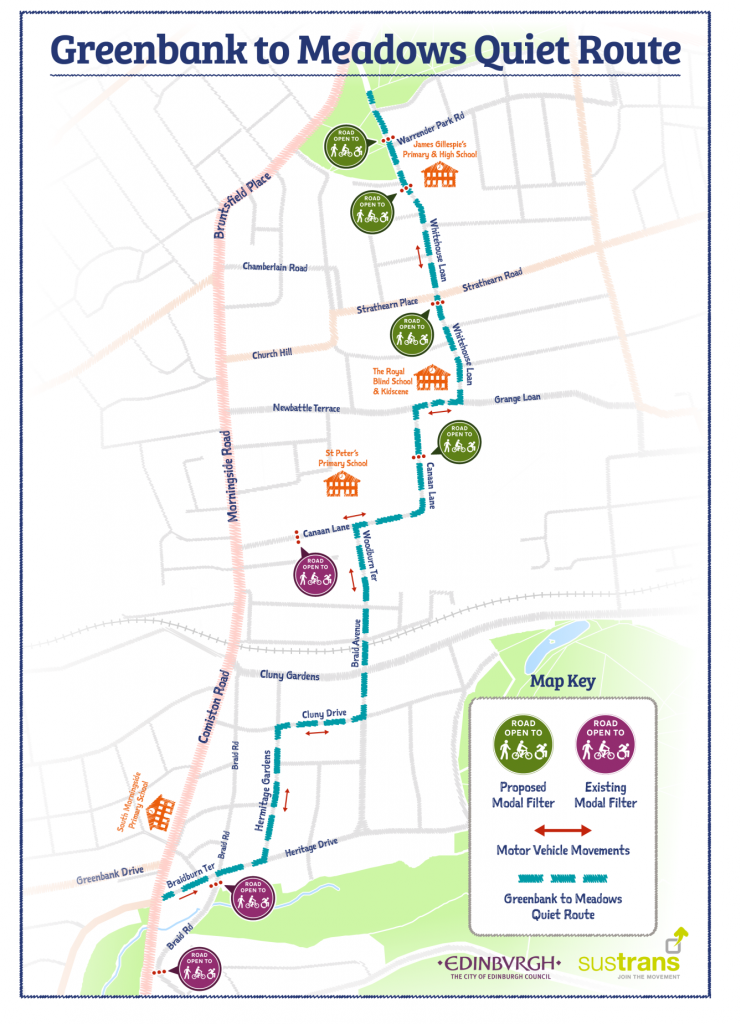 Greenbank to Meadows Quiet Route